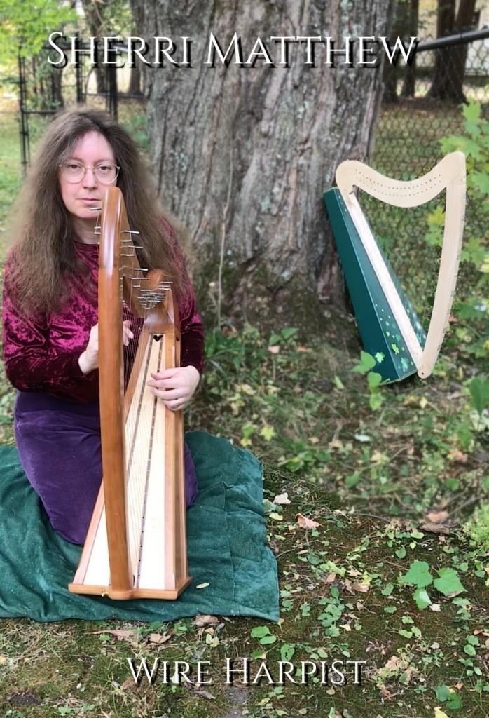 Sherri Matthew with her Stoney End cross-strung wire harp, 2020
